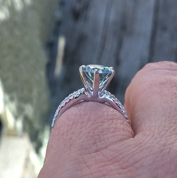 Moissanite Engagement Ring - Round Blue Moissanite Solitaire in a 14k White Gold Triple Band Setting - The IceFox