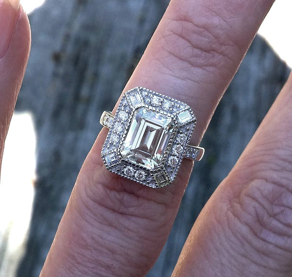 Moissanite - Gatsby Inspired - Engagement Ring 2.5ct, 9x7mm Emerald Cut EF Moissanite set in a 14K White Gold Art Deco Diamond Halo Setting - In The IceBox