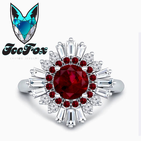 Ruby Engagement Ring -  1.25ct, 7mm Round Brilliant Ruby set in a 14k White Gold Diamond Sunflare Halo