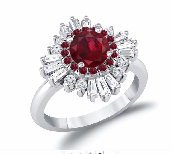 Ruby Engagement Ring -  1.25ct, 7mm Round Brilliant Ruby set in a 14k Rose Gold Diamond Sunflare Halo - In The IceBox