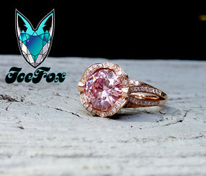 Moissanite Engagement Ring - 8mm, 2ct Round Pink Moissanite in a 14k Rose Gold Diamond Halo Setting - In The IceBox