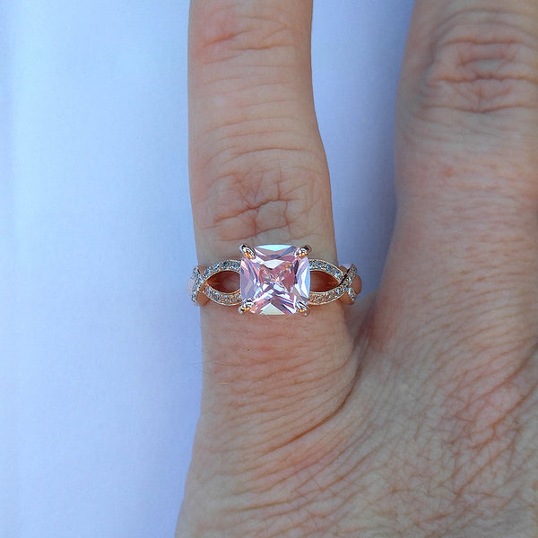 Breast Cancer ring Survivor or Memorial 7mm Cushion Cut Cultured Pink Sapphire set in a 14K Rose Gold Ribbon Twist Band - In The IceBox
