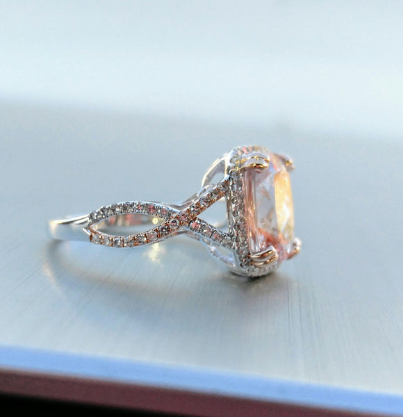 Morganite Engagement Ring 2.8ct 8 x 10mm Cushion Cut 14k White and Rose Gold Diamond Halo Twist Shank - In The IceBox