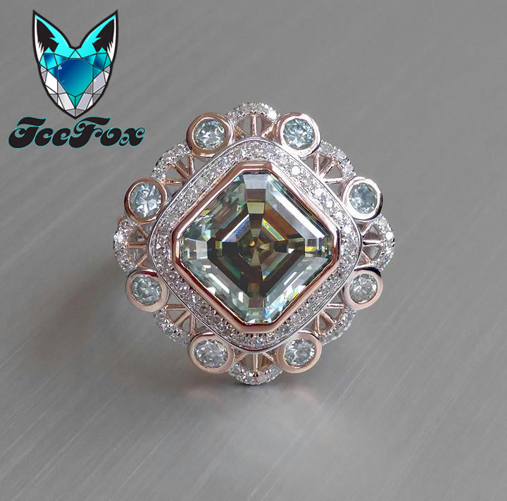 Moissanite - Asscher Cut Blue Green Moissanite set in a 14k Rose and White Gold