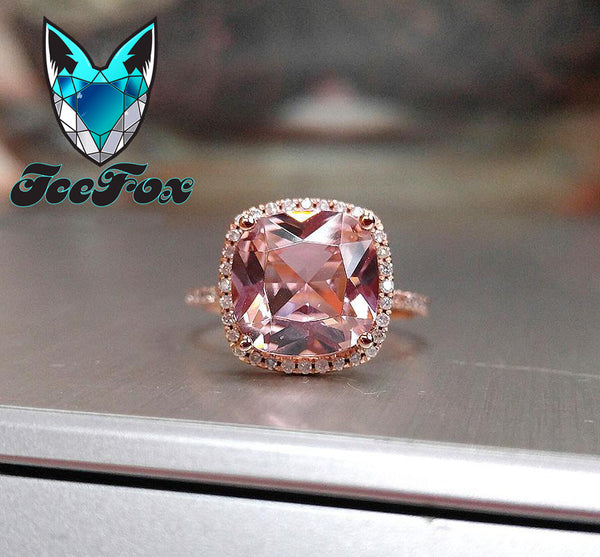 Morganite  4.1ct 10mm Cushion Cut in a 14k White Gold Diamond Halo Setting - In The IceBox