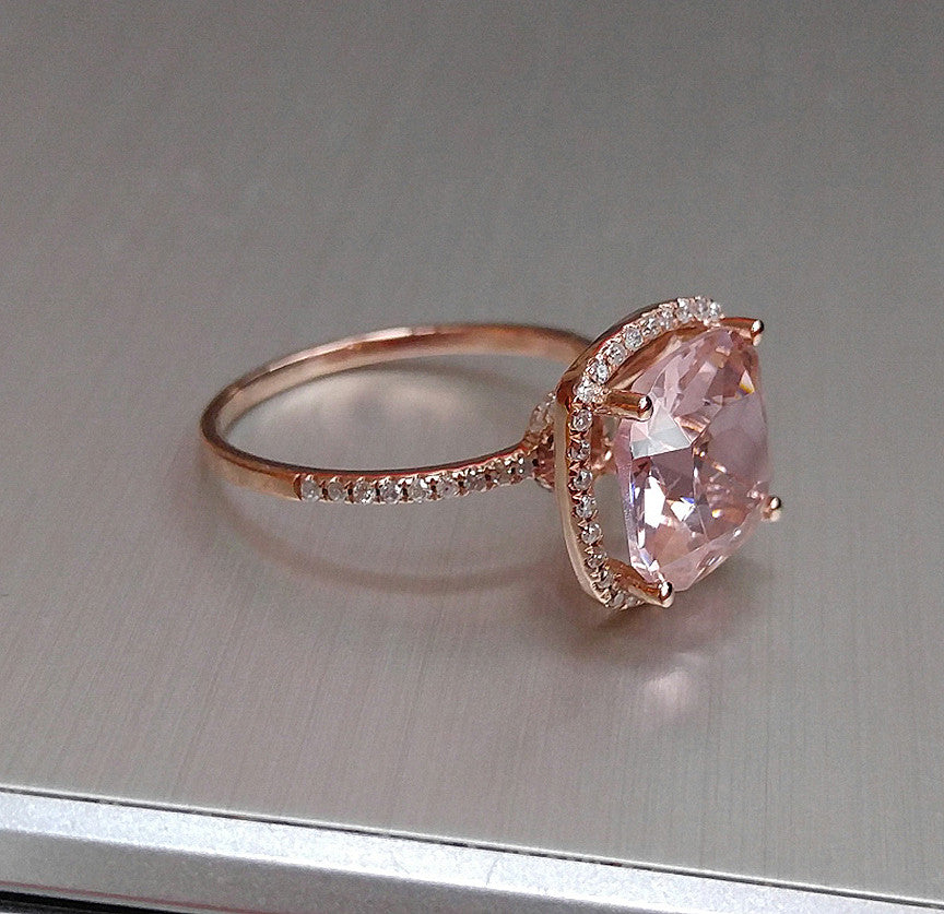 rose and ring g in morganite roy diamond gold biv