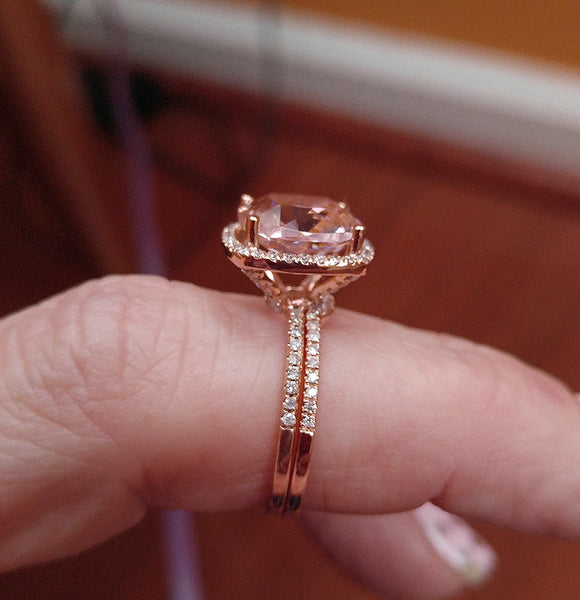 Morganite  4.1ct 10mm Cushion Cut in a 14k White Gold Diamond Halo Setting