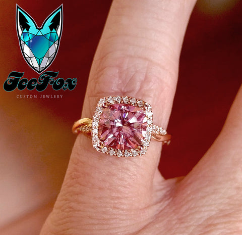 Moissanite - Cushion Cut Pink Moissanite in a 14k White Gold Diamond Floral Twist Shank Halo Setting - In The IceBox