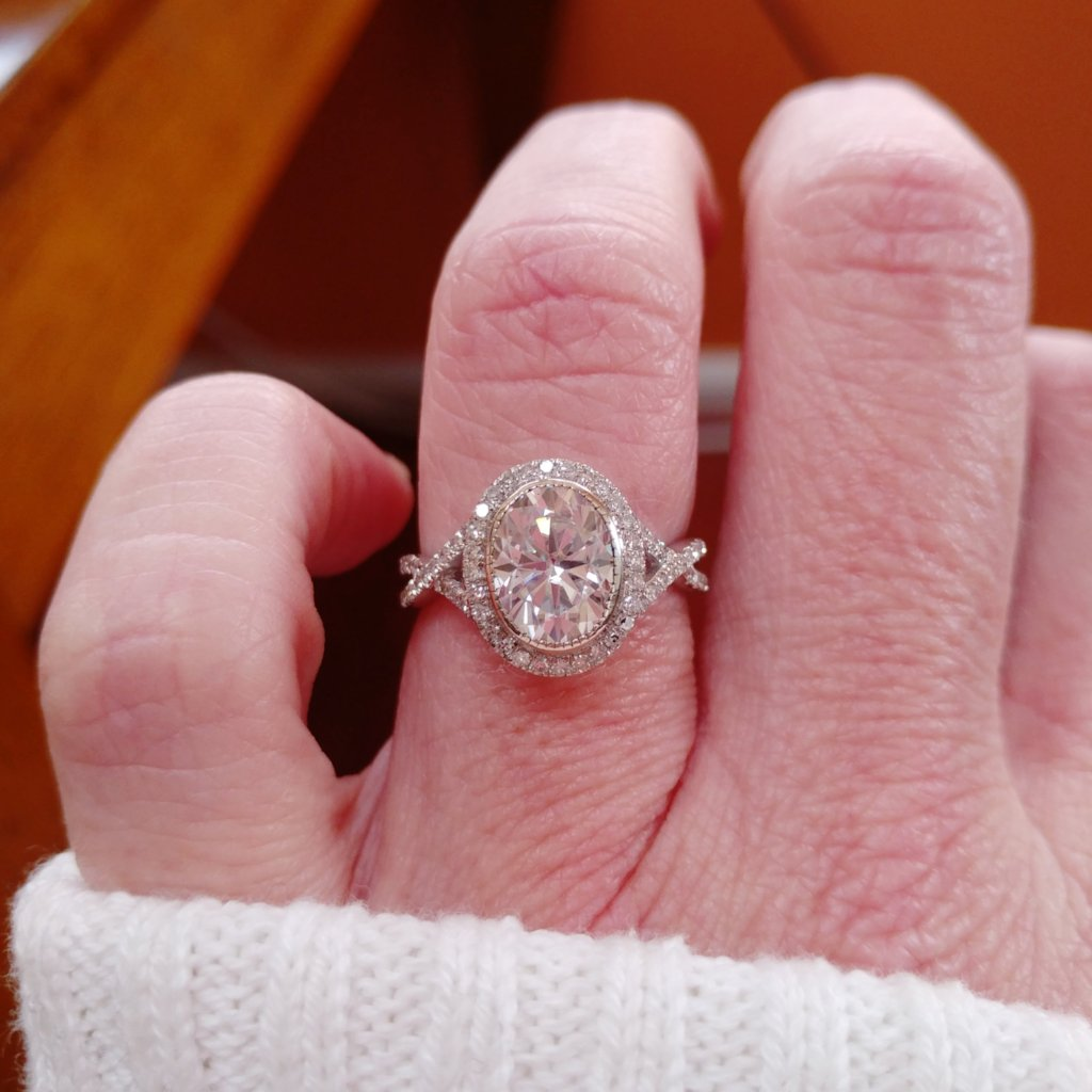 Engagement Ring - 2.25ct, 9x7mm Oval Moissanite set in a 14k White ...