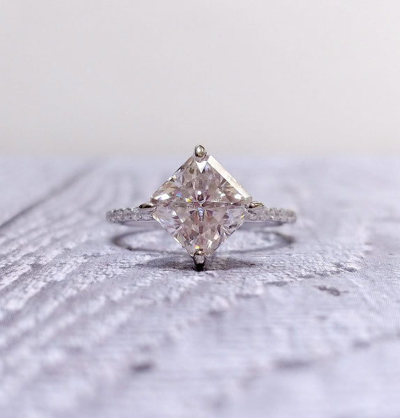 Moissanite Engagement Ring - Square Radiant Cut Moissanite in a 14k Rose and White Gold Diamond Setting - In The IceBox
