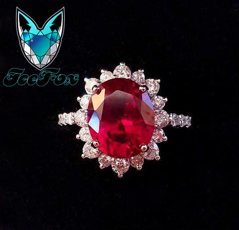 Ruby Engagement Ring 6ct, 12x10 Oval Cultured Pigeon Blood Ruby Diamond Halo Setting