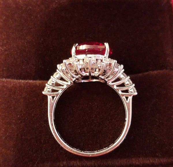 Ruby Engagement Ring 6ct, 12x10 Oval Cultured Pigeon Blood Ruby Diamond Halo Setting - In The IceBox