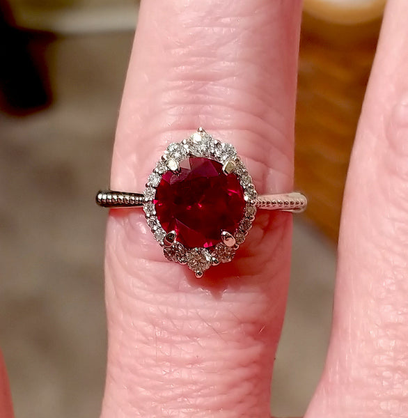 Ruby Engagement Ring 8mm Cultured Round Brillian Cut Ruby in a 14k White Gold Diamond Halo Setting - In The IceBox