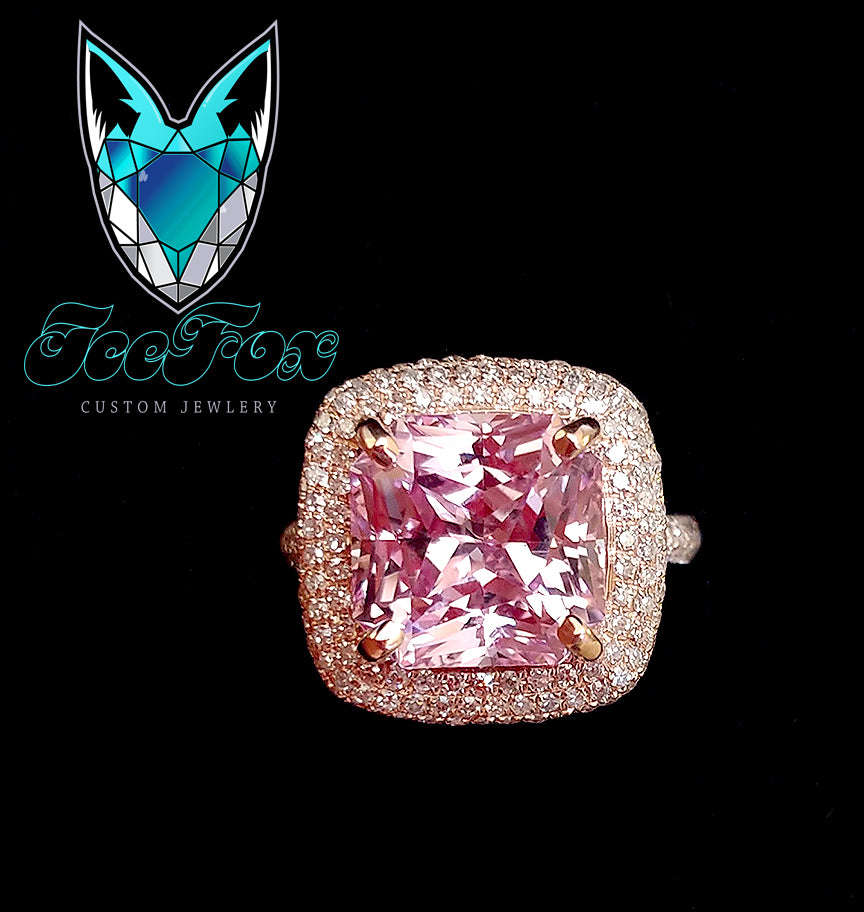 10mm, 5.8ct Modified Radiant Cut Cultured Pink Sapphire set in a 14K Rose Gold Triple Halo