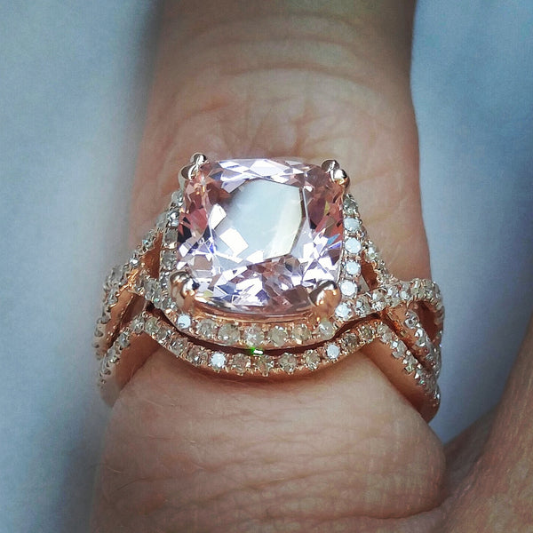 Morganite Engagement Ring - 8mm, 2.1ct Cushion Peach Pink Morganite in 14K Rose Gold Diamond Halo Twist Shank Setting with Matching Band - In The IceBox