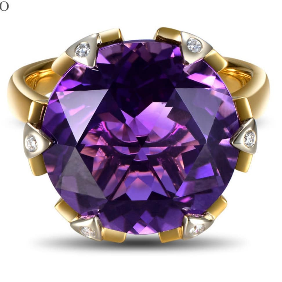 Amethyst Engagement Ring 12mm Round Brilliant Cut Amethyst in a 14k Rose Gold Solitaire setting