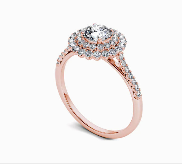 Moissanite Engagement Ring - 6.5mm, 1ct Round Brilliant EF Moissanite Set in a 14K Rose Gold Double Halo - In The IceBox