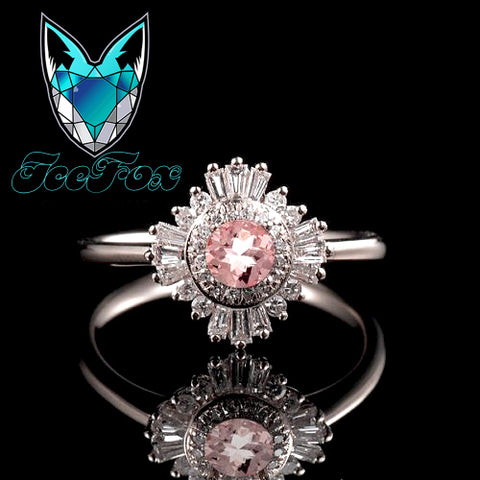 Morganite Engagement Ring 1.2ct, 7mm Round Morganite in a 14k White Gold Diamond Halo