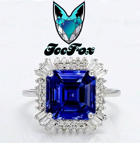 Sapphire - Gatsby Inspired - Cultured Asscher Kasmir Blue Sapphire -  4ct, 9mm Asscher Kashmir Blue Sapphire set in a 14k White Gold Diamond Setting - The IceFox