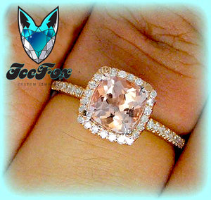 Morganite Engagement Ring 1.2ct Cushion Cut in a 14k Rose Gold Raised Diamond Halo Setting - The IceFox