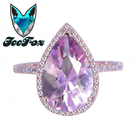 Amethyst Lavender Engagement Ring 3.2ct, 8 x 12mm Pear Shaped in a 14k Rose Gold Diamond setting - In The IceBox