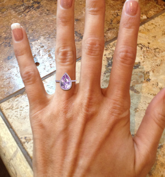 Amethyst Lavender Engagement Ring 3.2ct, 8 x 12mm Pear Shaped in a 14k Rose Gold Diamond setting