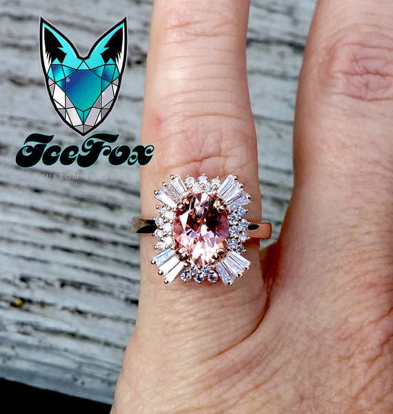Morganite - Gatsby Inspired - Morganite 1.75ct, 7 x 9mm Oval Morganite in a 14k Rose Gold Diamond Halo - The IceFox