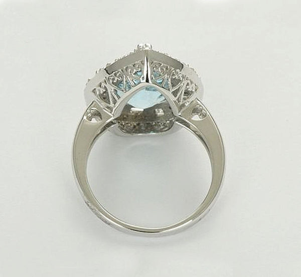 Pear Blue Topaz Engagement Ring 5.9ct, 10 x 12mm Pear Shaped Blue Topaz in a 14k White Gold Diamond Halo setting