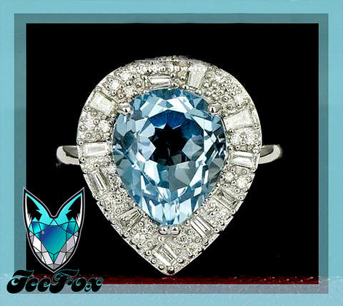 Pear Blue Topaz Engagement Ring 5.9ct, 10 x 12mm Pear Shaped Blue Topaz in a 14k White Gold Diamond Halo setting - In The IceBox