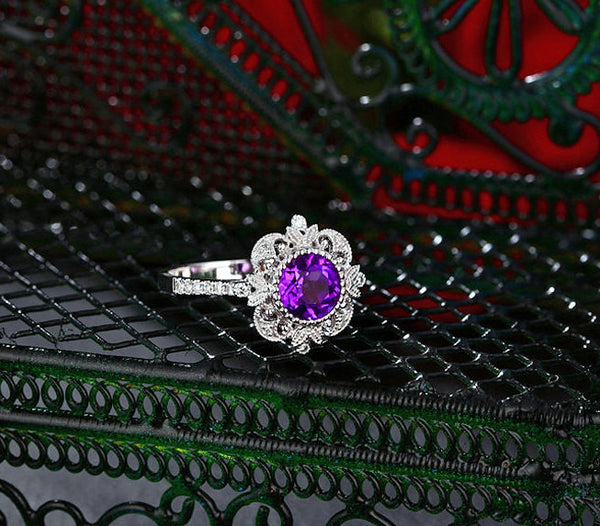 Amethyst - 6.5mm, 1.3ct Round Amethyst Set in a 14K White gold Diamond Halo Milgrain Setting