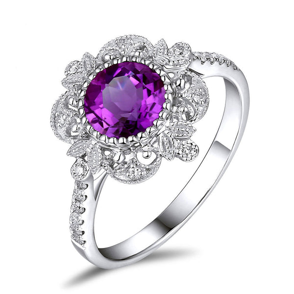 Amethyst - 6.5mm, 1.3ct Round Amethyst Set in a 14K White gold Diamond Halo Milgrain Setting - In The IceBox
