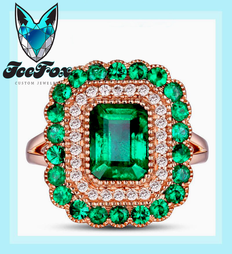 Emerald - Engagement Ring 8 x 6mm 1.9ct Cultured Emerald in a 14k Rose Gold Diamond and Emerald Halo Setting