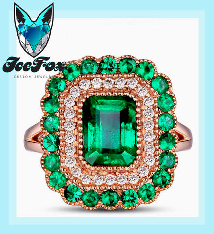Emerald - Engagement Ring 8 x 6mm 1.9ct Cultured Emerald in a 14k Rose Gold Diamond and Emerald Halo Setting - In The IceBox