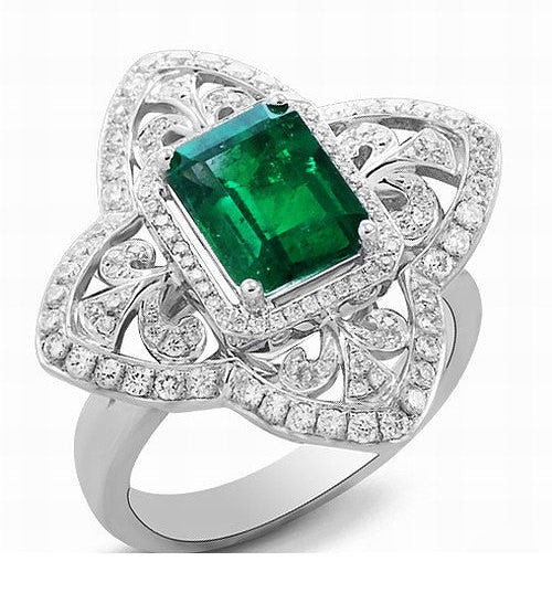 Emerald - Engagement Ring 8 x 6mm 1.9ct Cultured Emerald in a 14k White Gold Diamond Fleur de lis Halo Setting - In The IceBox