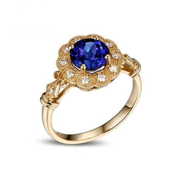 Sapphire - Cultured Ceylon Blue Sapphire Engagement Ring 1.6ct, 6.5mm Round Cultured Sapphire set in a 14k Yellow Gold Diamond Halo Setting