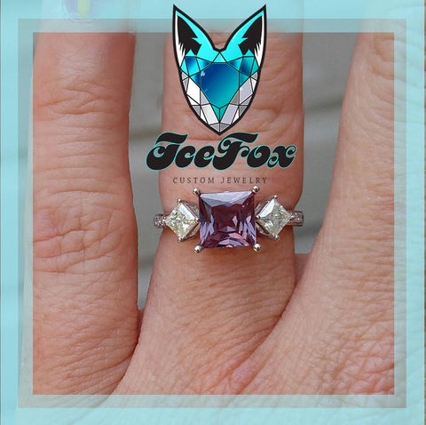 Alexandrite  - 7mm, 2.2ct Square Cultured Alexandrite Set in a 14K White Gold setting with Hidden Birthstones - In The IceBox