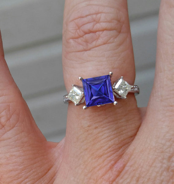 Sapphire - Cultured Blue Sapphire Engagement Ring - 7mm, 2.2ct Square Radiant Cultured Blue Sapphire Set in 14K White Gold