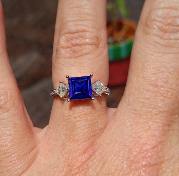 Sapphire - Cultured Blue Sapphire Engagement Ring - 7mm, 2.2ct Square Radiant Cultured Blue Sapphire Set in 14K White Gold - In The IceBox