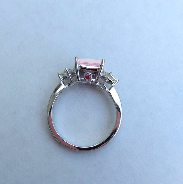 Sapphire - 7mm, 2.2ct Square Cultured Pink Sapphire Set in a 14K White Gold setting - In The IceBox