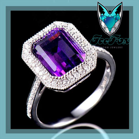 Amethyst Engagement Ring 3.44ct 10x8mm Emerald Cut in a 14k White Gold Diamond Halo Setting - In The IceBox