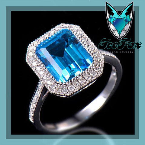 Topaz Engagement Ring 3.44ct 10x8mm Emerald Cut Blue Topaz in a 14k White Gold Diamond Halo Setting