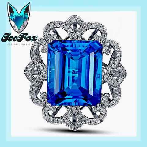 Topaz Engagement Ring 22.5ct 17x14mm Emerald Cut Blue Topaz in a 14k White Gold Diamond Filigree Halo Setting - In The IceBox