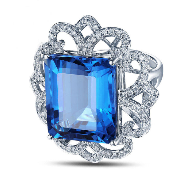 Topaz Engagement Ring 22.5ct 17x14mm Emerald Cut Blue Topaz in a 14k White Gold Diamond Filigree Halo Setting - The IceFox