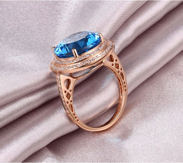 Topaz Engagement Ring - 10.15ct 13mm Round Cut Blue Topaz in a 14k White Gold Diamond Halo Setting - The IceFox