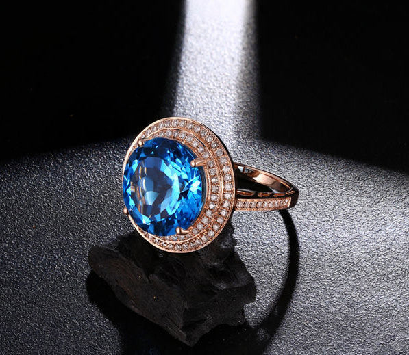 Topaz Engagement Ring - 10.15ct 13mm Round Cut Blue Topaz in a 14k White Gold Diamond Halo Setting