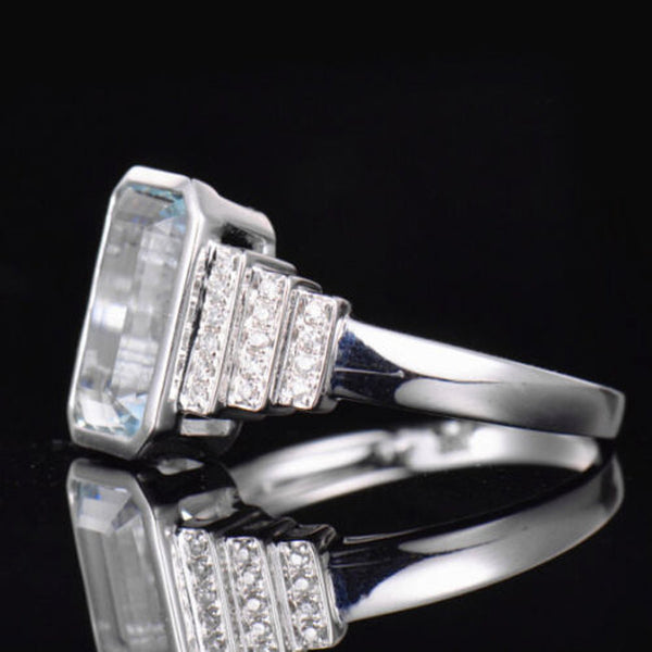 Aquamarine Engagement Ring 2.8ct Emerald Cut in a 14k White Gold Art Deco Bezel Halo Setting - In The IceBox