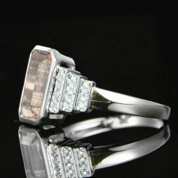 Morganite Engagement Ring 3ct Emerald Cut in a 14k White Gold Art Deco Bezel Halo Setting - In The IceBox