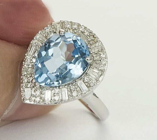 Pear Blue Topaz Engagement Ring 5.9ct, 10 x 12mm Pear Shaped Blue Topaz in a 14k White Gold Diamond Halo setting - The IceFox
