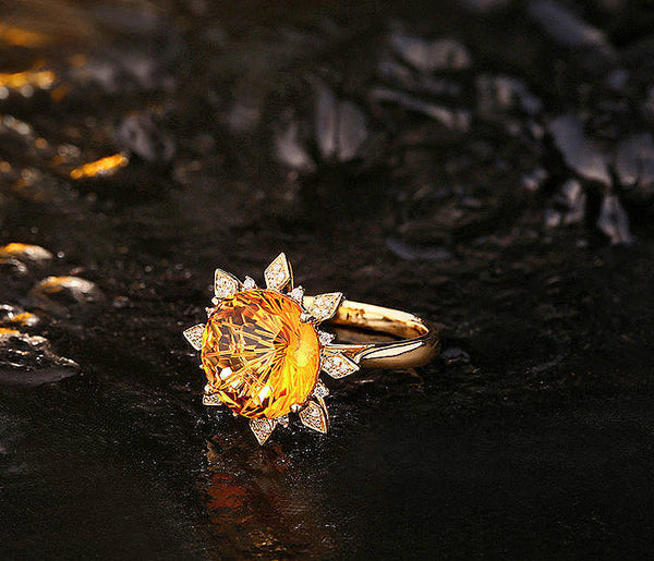 Citrine Ring - 7ct 12mm Round Sunburst Cut in a 14k Yellow Gold Diamond Sunburst Halo Setting - In The IceBox