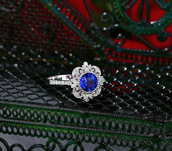 Sapphire - Cultured Blue Sapphire Engagement Ring - 6.5mm, 1.3ct Round Blue Sapphire Set in a 14K White gold Diamond Halo Milgrain Setting - The IceFox
